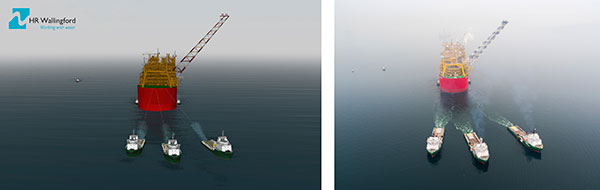 9 1HR Wallingford simulation left and photograph by Shell right of the Prelude tow with POSH tugs